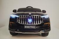 Электромобиль Maserati E007KX черныйДетские электромобили<br>ЭЛЕКТРОМОБИЛЬ MASERATI E007KX С ДИСТАНЦИОННЫМ УПРАВЛЕНИЕМ ЧЕРНЫЙ ЦВЕТСветовые и звуковые эффекты.&amp;nbsp;Подсветка панели приборов, диодные огни фар.&amp;nbsp;Амортизаторы.Задняя подсветка.Пульт управления: индивидуальный (настраивается по Bluetooh)Колеса: EVA-резиновые низкопрофильные (кнопочные)Открываются двери. Возможность перемещения по принципу Чемодана (выдвигается ручка и колесики)Открывается капот, стойка-фиксатор капота для легкого демонтажа аккумулятора.Скорость: 3 скорости вперед, одна назад.Сидение: кожаное. 5-ти точечный ремень безопасности.&amp;nbsp;Заводится с кнопки.Вход MicroSD, USB-вход. Индикатор заряда батареи.Размер собранной модели: 123*60*60см, вес: 19кг, макс. нагрузка: 30 кгАккумулятор: 12V/7АРедуктор: 2*12V<br><br>Марка: Maserati<br>Модель: E007KX<br>Сиденье: Кожаное<br>Колёса: EVA-резиновые низкопрофильные (кнопочные)<br>Кол-во мест: 2<br>Цвет: Черный