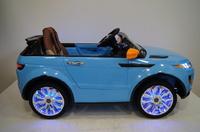 Электромобиль Range Rover A111AA VIP голубойДетские электромобили<br>ЭЛЕКТРОМОБИЛЬ RANGE ROVER A111AA VIP С ДИСТАНЦИОННЫМ УПРАВЛЕНИЕМ ГОЛУБОЙ ЦВЕТСветовые и звуковые эффекты.&amp;nbsp;Подсветка панели приборов, диодные огни фар.&amp;nbsp;Плавный ход. Амортизаторы.Пульт управления: индивидуальный (настраивается по Bluetooh)Колеса: РЕЗИНОВЫЕ НИЗКОПРОФИЛЬНЫЕ (дополнительная подсветка, которую, по желанию, можно отключить - рычаг под рулем)Открываются двери.&amp;nbsp;Заводится с кнопки.&amp;nbsp;Коробка автомат.&amp;nbsp;Обратный ход руля.Скорость: 2 скорости вперед, одна назад.Сидение: мягкое кожаное, регулировка вперед/назад. 5-и точечный ремень безопасности.USB-вход, вход для MP3, SD-входВозможность перемещения по принципу Чемодана (выдвигается ручка и колесики)Размер собранной модели: 125*68*56см, вес: 22кг, макс. нагрузка: 30 кгАккумулятор: 2*6V/7АРедуктор: 2*35W<br><br>Марка: Range Rover<br>Модель: A111AA VIP<br>Сиденье: Кожаное<br>Колёса: Резиновые низкопрофильные<br>Кол-во мест: 1<br>Цвет: Голубой