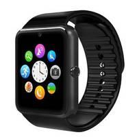 Умные часы Smart Watch GT08 Черный(Black)Умные часы и браслеты<br>Частота работы: GSM 850/900/1800/1900МГц;Языки: Русский, Английский;Экран: сенсорный дисплей 240х240;Память: 128MB ROM + 64MB RAM;Камера: есть (фото 640х480);Поддержка карт памяти:&amp;nbsp; microSD (до 32 гигабайт);Bluetooth: ver. 3,0/4,0;Емкость аккумулятора: 350 mAh;Вес (г): 62 г.;Совместимость: Android 4/4 + IOS 7.0 и еще выше.<br><br>Материал корпуса: алюминий<br>Интерфейсы: USB<br>Зарядка от USB: Да<br>Емкость аккумулятора: 350 мАч<br>Процессор: MT6261<br>Встроенный микрофон: да<br>Разрешение дисплея: сенсорный TFT-дисплей 240х240<br>Вес: 62 г.<br>Совместимость: Android, iOS<br>Bluetooth: 3.0<br>Материал ремешка/браслета: мягкий пластик<br>Поддержка SIM-карты: есть