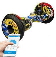Гироскутер Smart Balance PRO PREMIUM 10.5 V2 с APP самобаланс (граффити желтый)Гироскутеры<br>Max скорость: 20 км/чзапас хода: 20 кмразмер колес: 10Max вес: 25 кг - 130 кгмасса: 13,5 кг<br><br>Максимальная скорость: 20 км/ч<br>Дальность пробега на одной зарядке: 20 км<br>Размер колес: 10<br>Вес водителя: 25-130 кг<br>Вес: 13,5 кг<br>Максимальный угол подъема: 15 градусов<br>Радиус разворота: 360 градусов<br>Габариты: 584х186х178 мм<br>Мощность: 2 колеса по 500 Вт